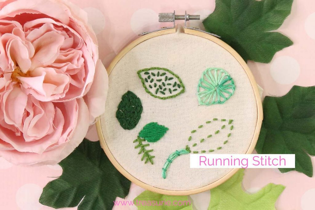 Running Stitch Embroidery Leaves