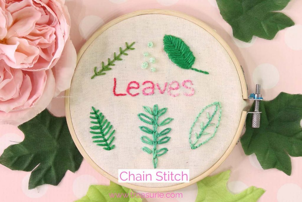 chain stitch embroidery leaves