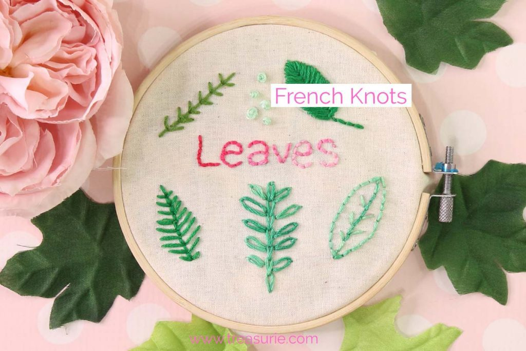 French Knots Embroidery Leaves