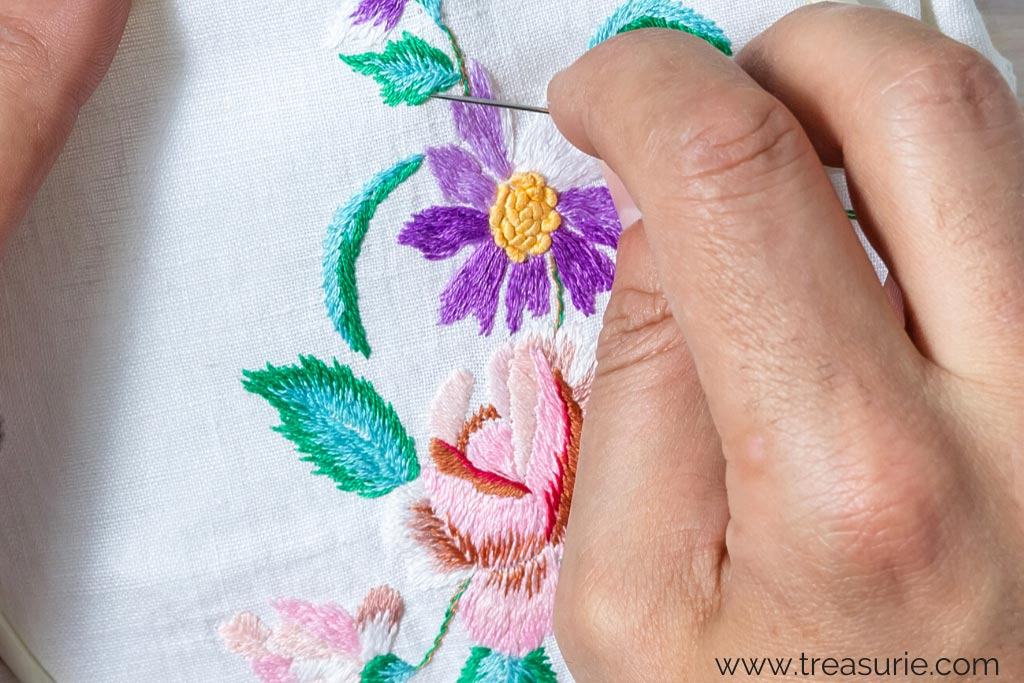 Long and Short Stitch for Embroidery Flowers