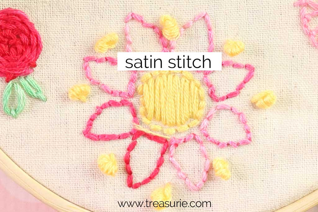Satin Stitch for Embroidery Flowers