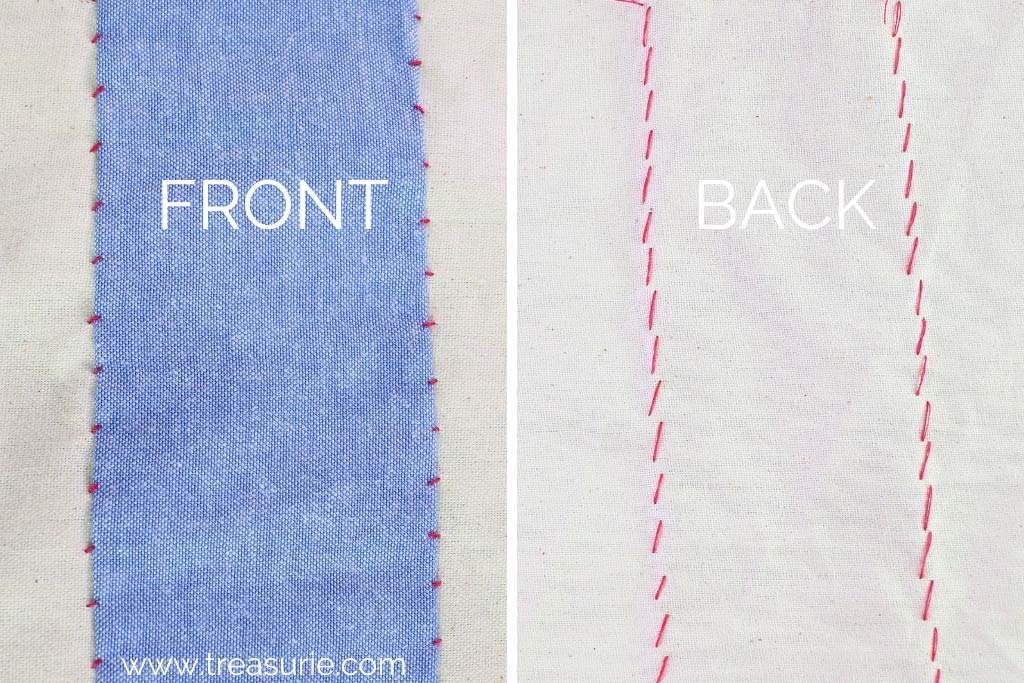 Fell Stitch - Back and Front