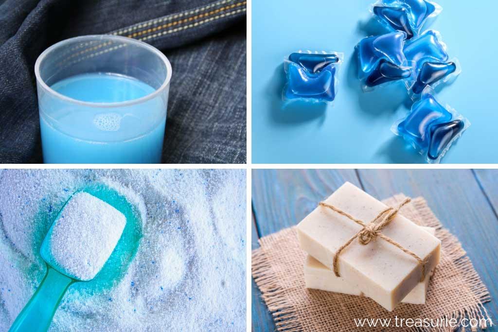 Types of Detergents - Liquid, pods, powder, soap