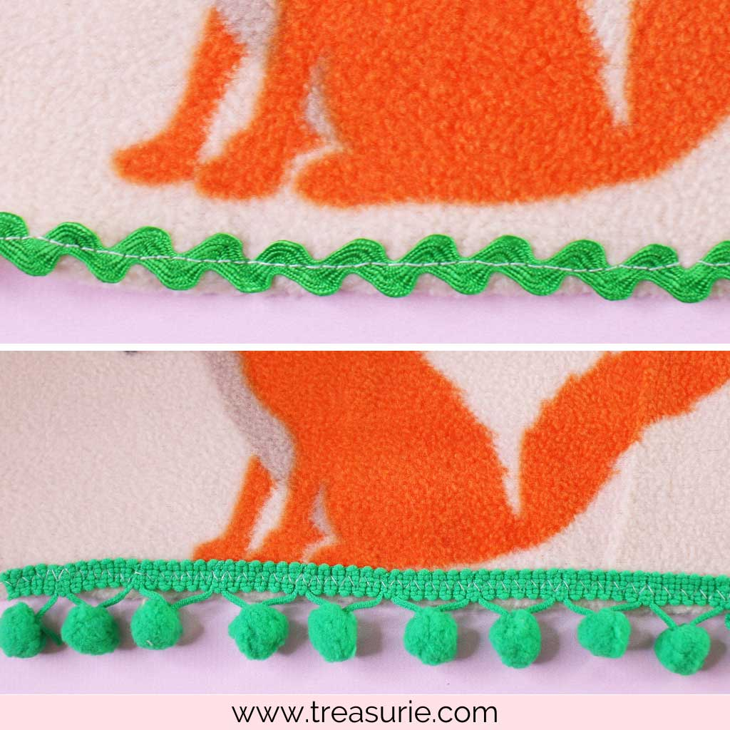 How to Make a Fleece Blanket with Pom Pom and Ric Rac Trim