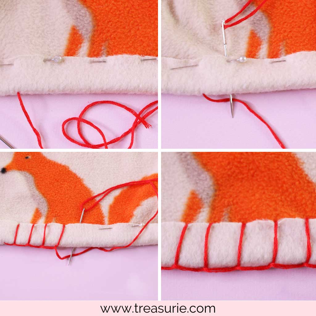 How to Make a Fleece Blanket with Blanket Stitch Hems