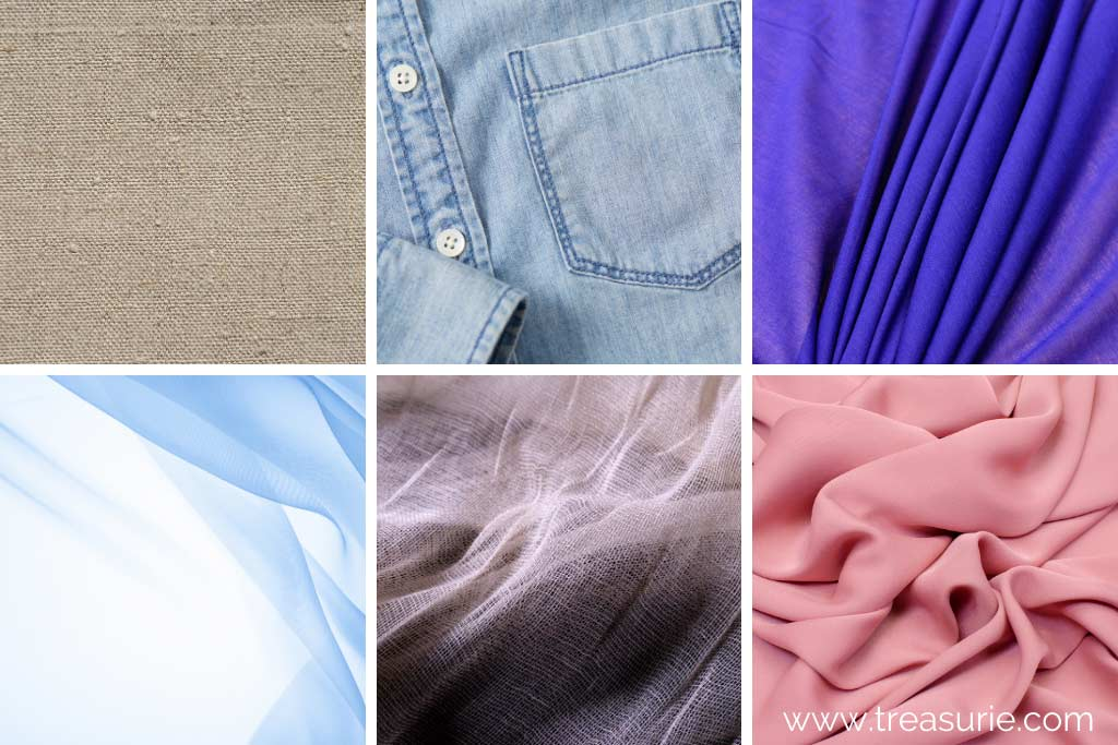 Plain Weave - (1) Buckram (2) Chambray (3) Cambic (4) Chiffon (5) Cheesecloth (6) Crepe