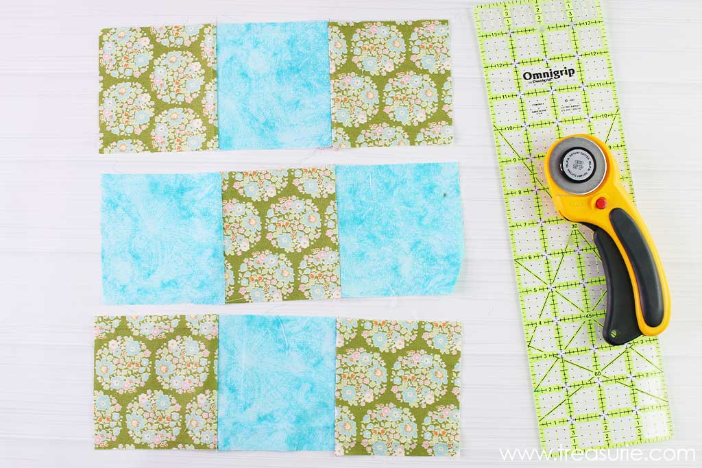 Nine Patch Quilt Block - 3 Strips