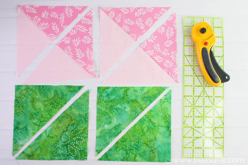 Double Pinwheel Quilt Blocks - Cut Diagonally