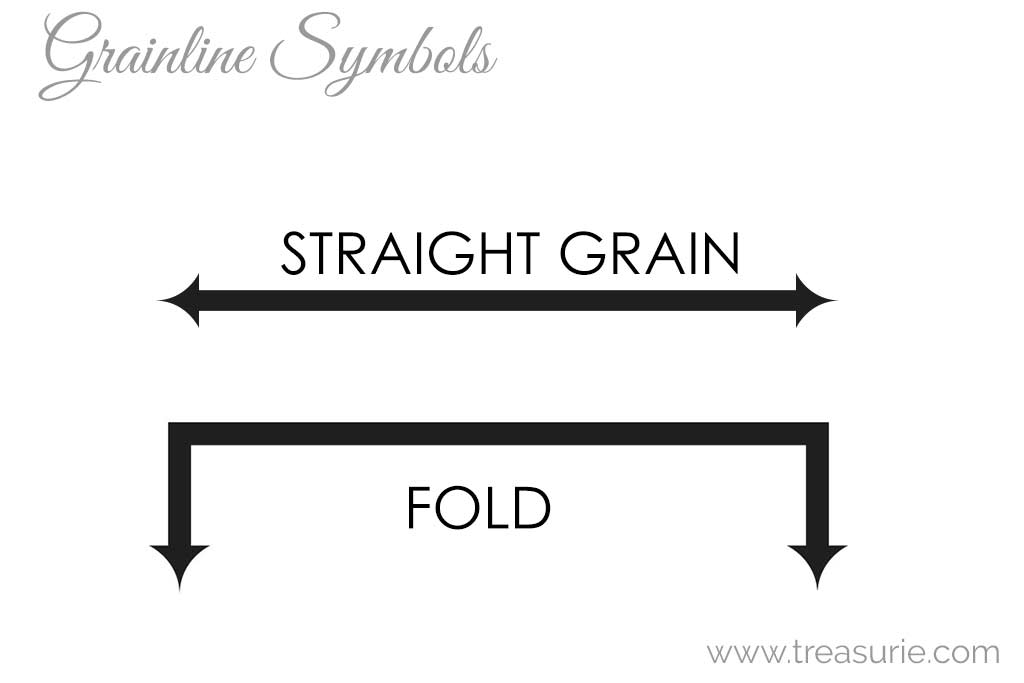 Fabric Grainline Symbols on Sewing Patterns