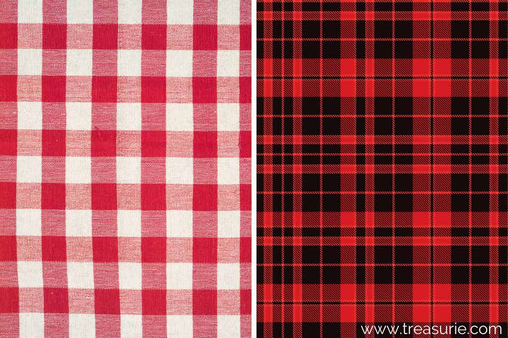 What is Gingham (left) vs Plaid (right)