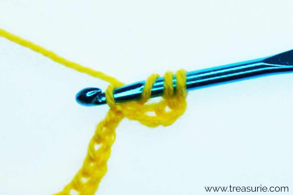 Treble Crochet Stitch - Insert into 5th Chain