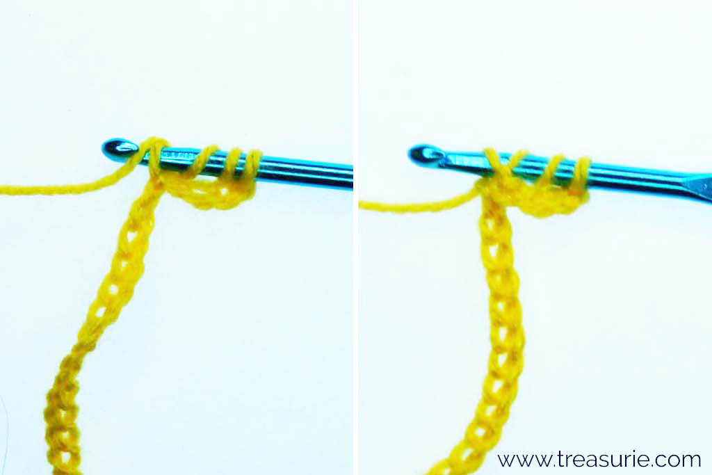 Treble Crochet Stitch - Yarn over and Pull