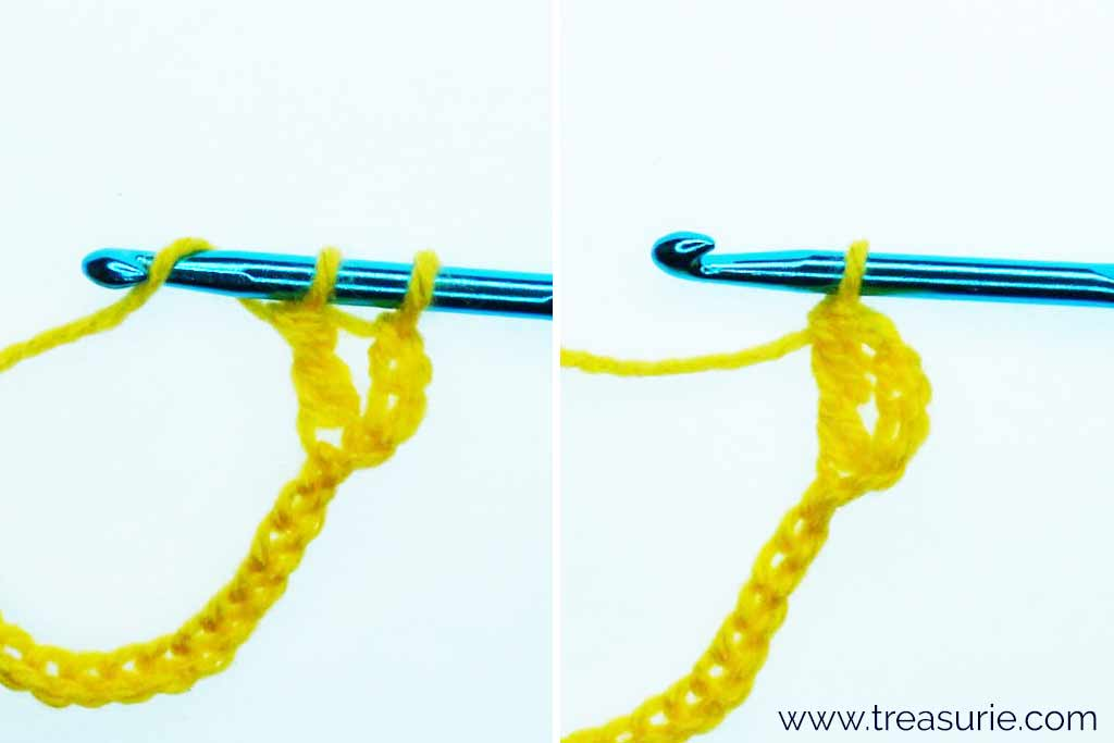Treble Crochet Stitch - Yarn over and Pull 2