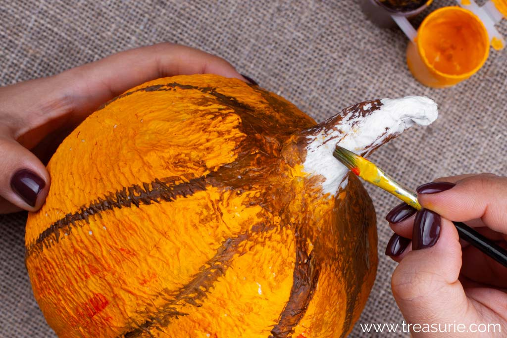 How to Make a Paper Mache Pumpkin - Painting