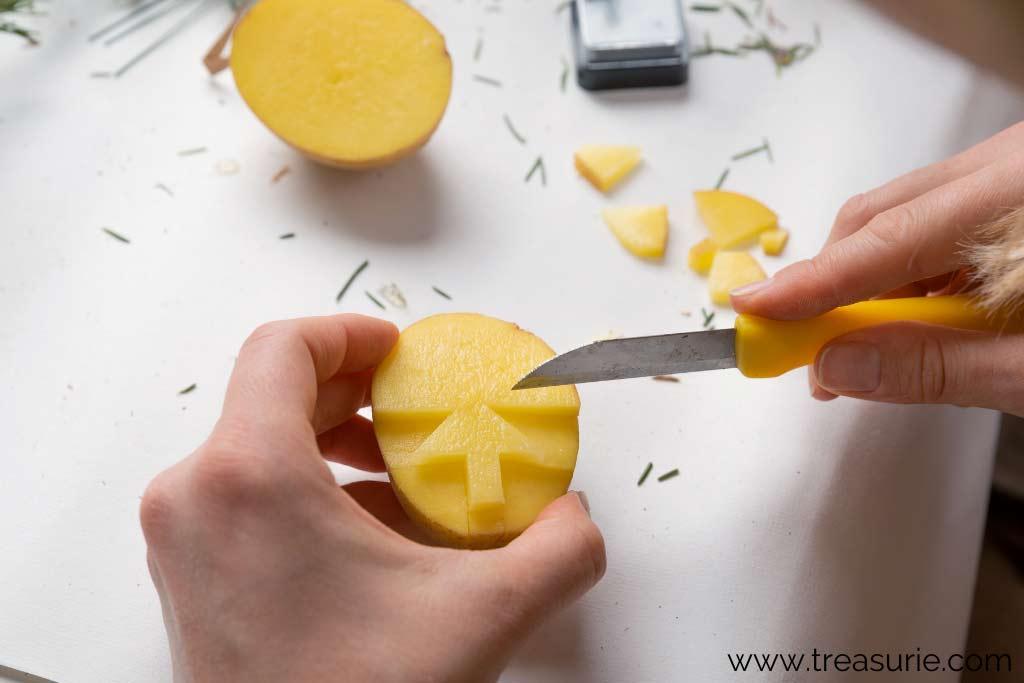 Potato Printing - Freehand Carving