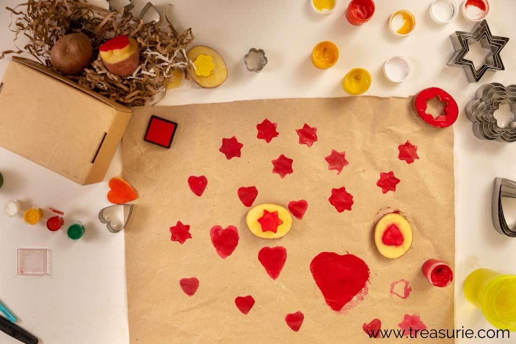 Potato Printing - Applying Paint