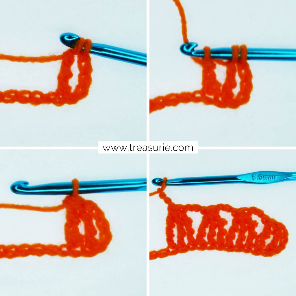 Double Treble Crochet - Clusters