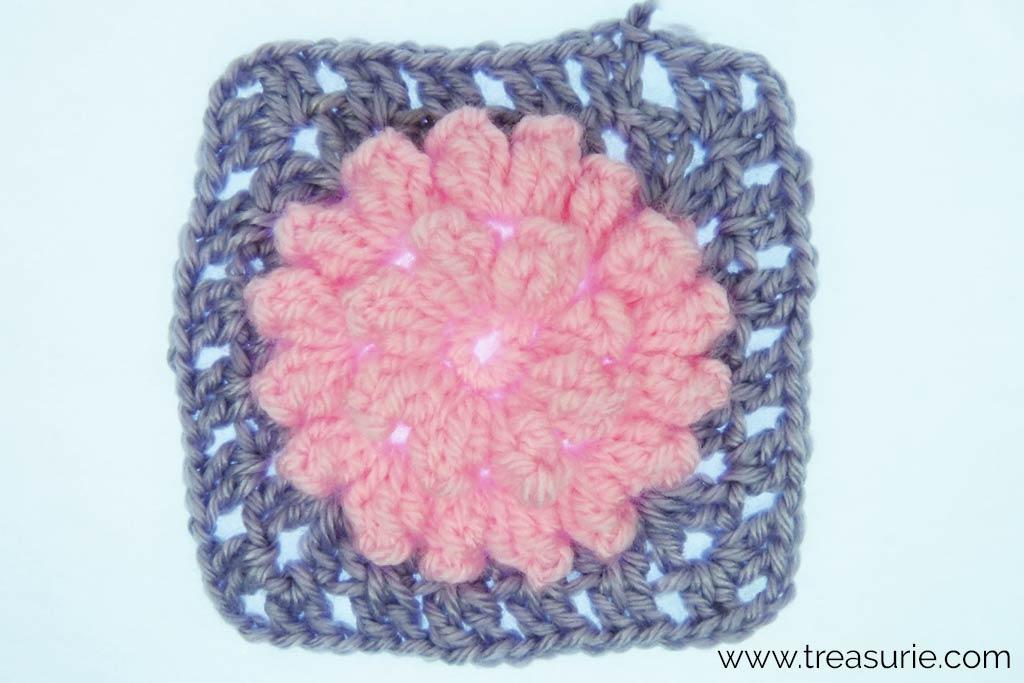 Crochet Popcorn Stitch Flower Square