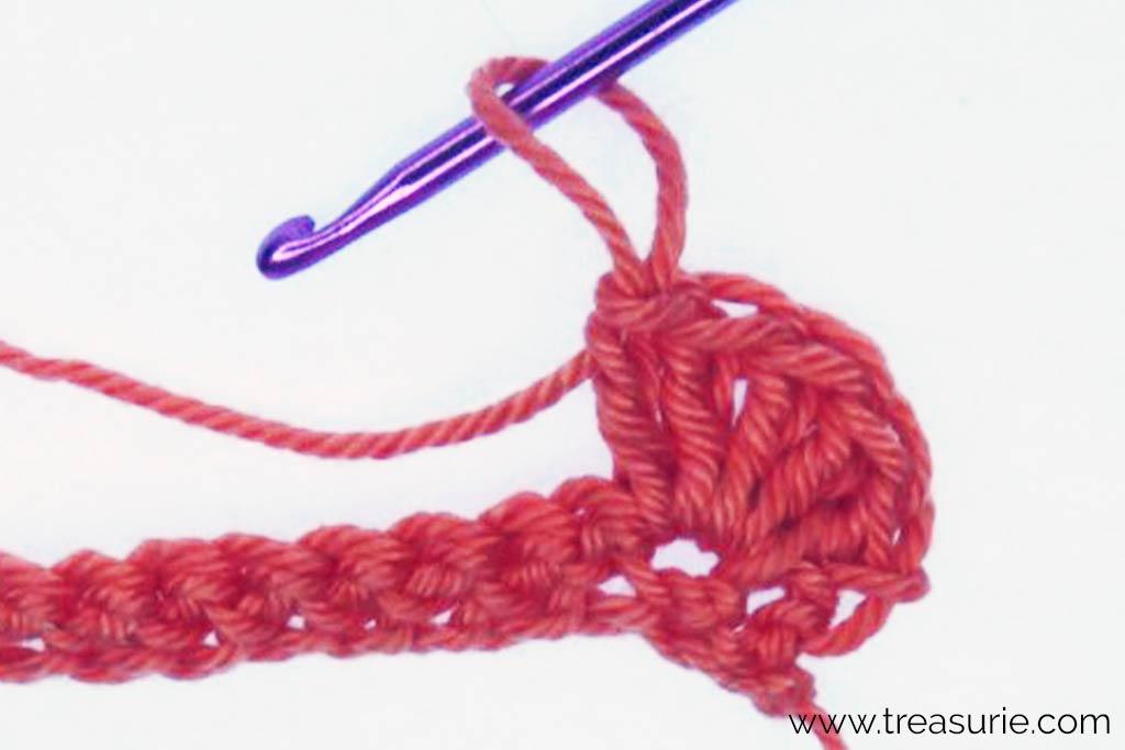 Crochet Popcorn Stitch - Row 2