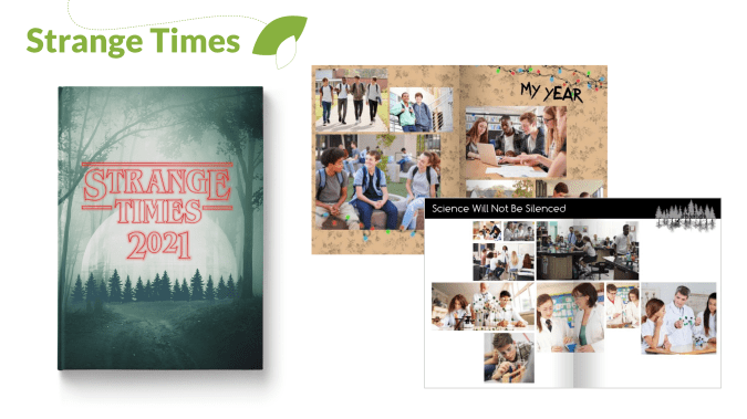 Strange Times Yearbook Theme Cover and Pages