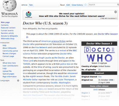 Wikipedia article on Doctor Who
