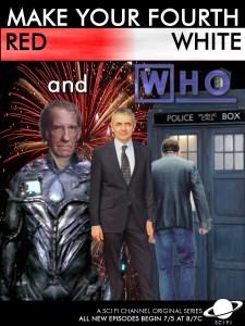 Hugh Laurie, Rowan Atkinson and David Warner in Doctor Who