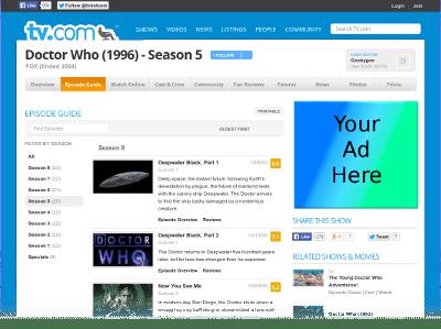 Doctor Who Alternative Season 5 Listings