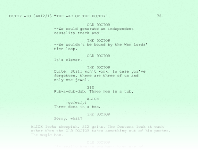 Doctor Who War of the Doctor script page