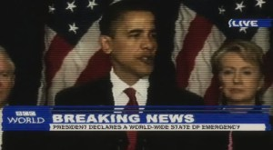 President Obama Newsreel footage in Alien Dawn