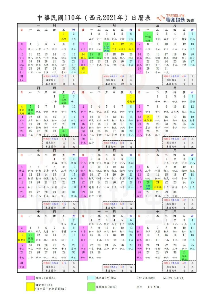 2021勞工行事曆 行事曆 分享 110年勞工行事曆 2021企業行事曆