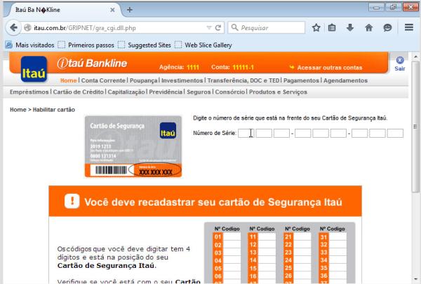 Figura 12: Site falso do Itaú - Phishing