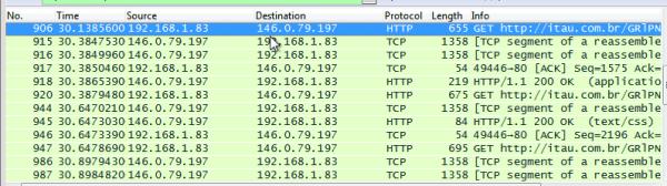 Figura 13: Comunicação de rede após infecção do malware (Wireshark)