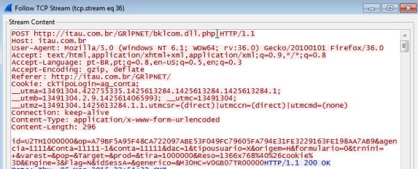 Figura 14: Detalhes da comunicação de rede com a falsa página bancária (Wireshark)