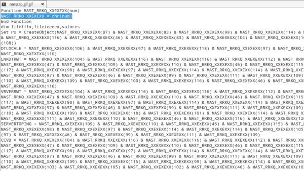Figura 3: Código ofuscado do script baixado pelo malware
