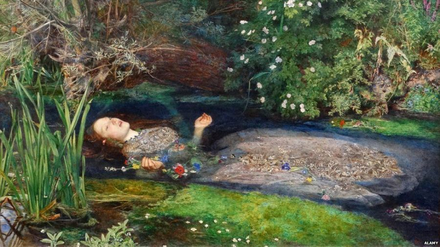 """Sir John Everett Millais's 1852 painting """"Ophelia"""" depicts her death after going insane"""