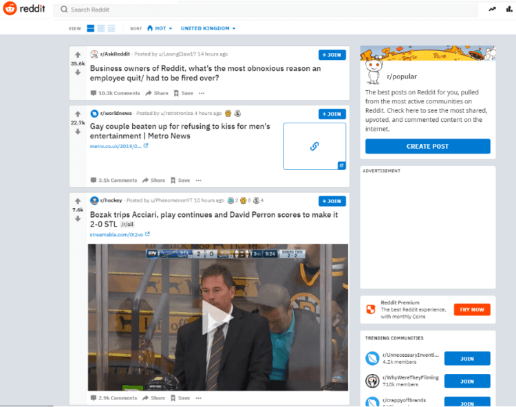 Reddit Homepage - Content Curation