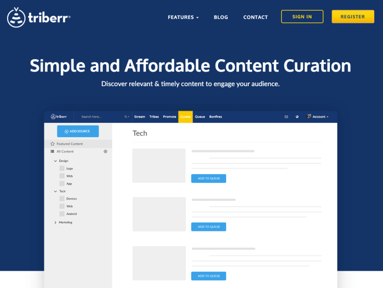 Triberr Curate Content