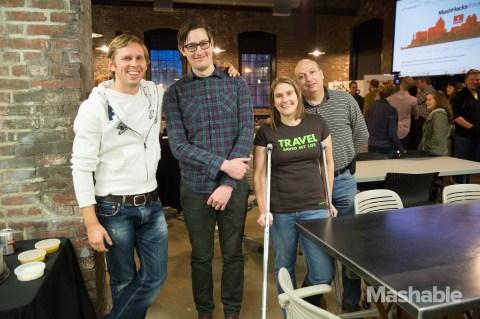 FlyBeacon team photo at Mashable MashHacks Travel Hackathon at Hack/Reduce