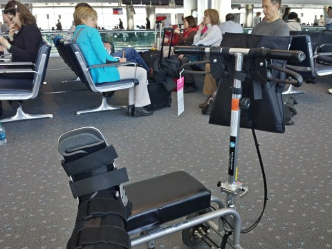 Chandra's foot and knee walker scooter