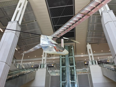 Dulles Airport Art, Daedalus human-powered MIT plane - B Concourse