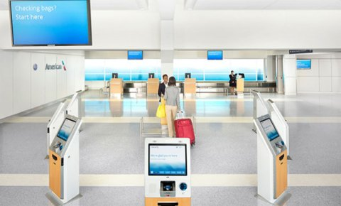 Check-in Kiosks at the Next Generation Airport, Courtesy of FTE: http://www.futuretravelexperience.com/2013/10/american-airlines-delivering-vision-next-generation-airport/?