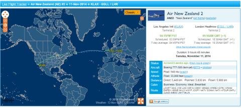 Flight Route - Air New Zealand Flight NZ2