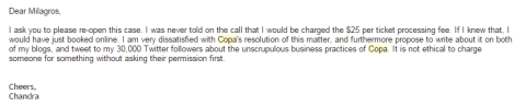 Copa Airlines Complaint - my response