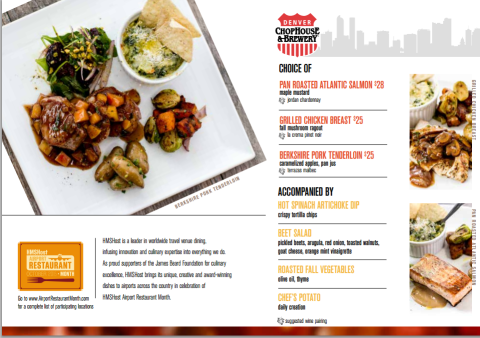 Denver Chophouse Airport Restaurant Month Menu - courtesy of HMS Host