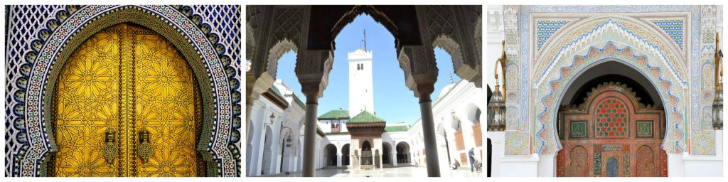 Visit Fez attractions: Karaouine Mosque with its famous Bou Inania Medersa; ideas or things to do in Tangiers. Can I access Tangier from Spain? Cheap holiday packages to Morocco available