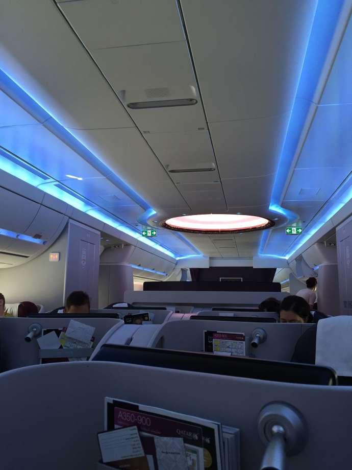 座位是1-2-1配置,中央沒有行李艙感覺空間很大,兩個商務艙區中間有一個區域隔開,航程中有擺一些食物水果飲料