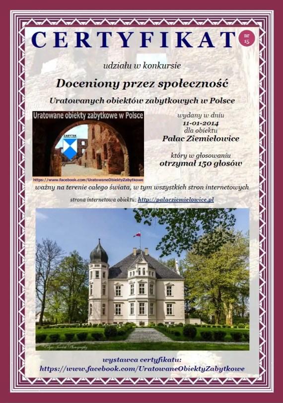 Piętnasty certyfikat Pałac Ziemiełowice - http://www.palacziemielowice.pl/