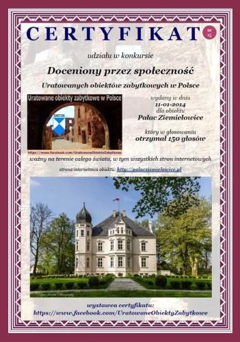 Piętnasty certyfikat - Pałac Ziemiełowice - http://www.palacziemielowice.pl/
