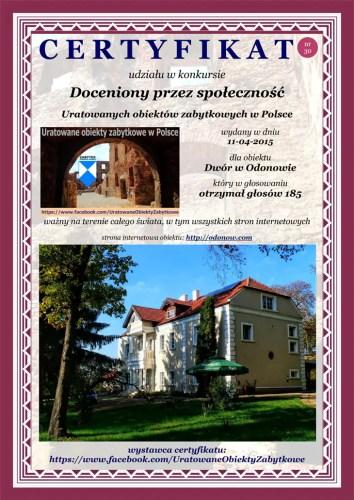 Trzydziesty certyfikat - Dwór w Odonowie - http://odonow.com