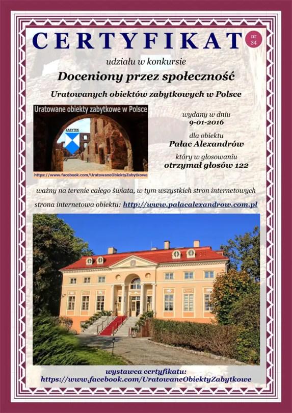 Trzydziesty czwarty certyfikat - Pałac Alexandrów - http://www.palacalexandrow.com.pl